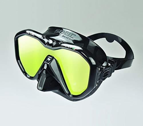 SEAC Italica Masque Monoverre pour la plongée Professionnelle, Les Loisirs ou l'apnée, de Haute qualité fabriqué en Italie Adulte Unisexe, LS/Noir Metal, Regular Fit