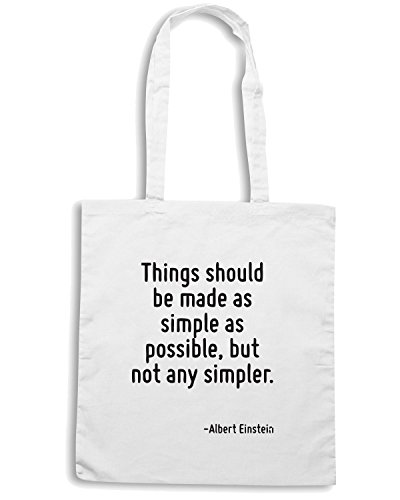 T-Shirtshock - Borsa Shopping CIT0227 Things should be made as simple as possible, but not any simpler. Bianco