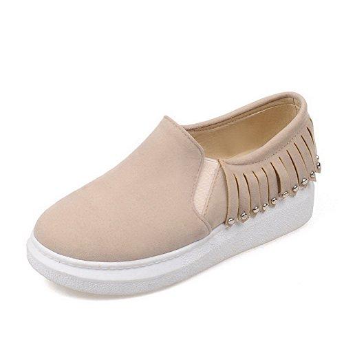 AllhqFashion Damen Rund Zehe Niedriger Absatz Mattglasbirne Rein Ziehen Auf Pumps Schuhe Cremefarben