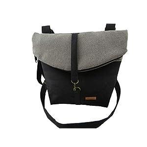 LeKo-Design -Rucksack aus Kork, verwandelbar, Umhängetasche, schwarz, grau