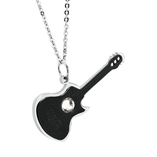 AnaZoz Bijoux de mode collier pendentif unisexe acier inoxydable guitarrara avec cristal pendentif collier pour femme noir