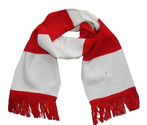 Am Laufsteg Fan-Strick-Schal (Ö-ACC146) mit Fransen, Fanartikel in Österreich/Polen-Farben, Uni-Größe, 19 x 152 cm, für Herren und Damen, rot-weiß