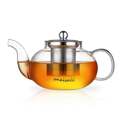 ONEISALL Glass Teapot with Stainless Steel Infuser & Lid, Heat Resistant Borosilicate Glass Tea Pot for Loose Leaf Tea Blooming Tea Flower Tea Coffee, 28oz (800ML)