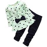 Zolimx Maglietta E Pantaloni Nuovo Bambino A Forma Di Cuore 2PCS Impostato Inchino Carino (110, verde)