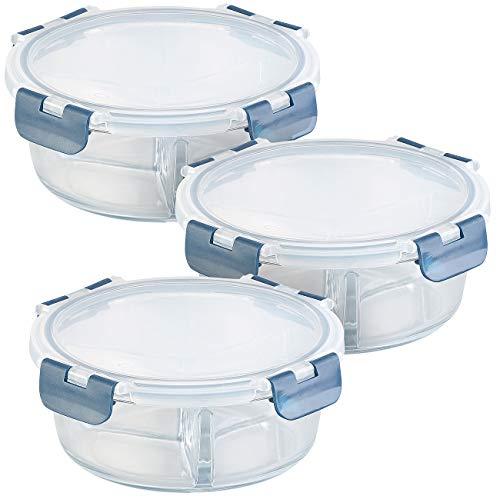 Rosenstein & Söhne Glas-Behälter: 3er-Set Glas-Frischhaltedosen, 3 Kammern, Klick-Deckel, -20 bis 520°C (Glasschüssel mit Deckel Dicht)