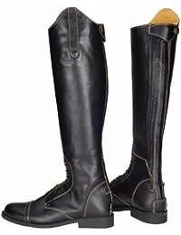 Natasha TuffRider mujeres botas de piel, color negro/beige claro, 11 delgado