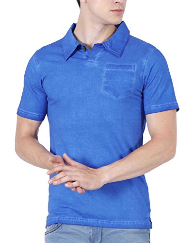 Fanideaz Cotton Stone Washed Royal Blue Polo tees for Men with Pocket M