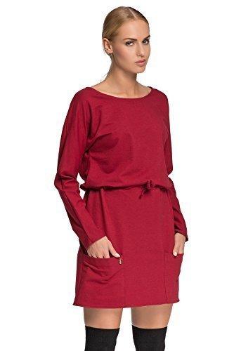Futuro Fashion Femmes Décontracté Taille Réglable Tunique avec poches Manches Longues Col Bateau Taille 36-38-40-42 FA475 Pourpre