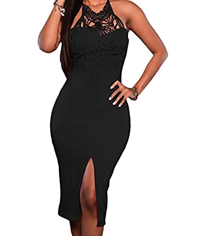 Bling-Bling Dress Women's Embroidered Top Front Slit Party Dress Black L