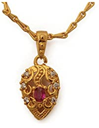 Radha's Creations Ruby American Diamond Pendant Bead Chain Length 18 Inches One Gram Gold Plated For Women And...