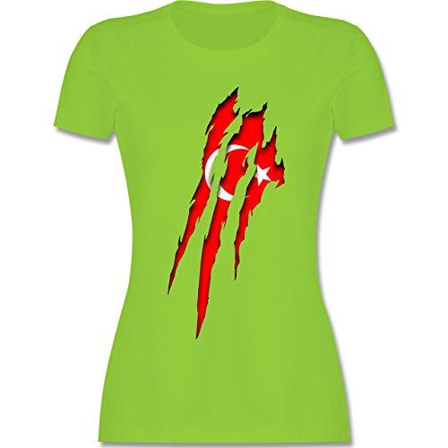 Länder - Türkei Krallenspuren - tailliertes Premium T-Shirt mit Rundhalsausschnitt für Damen Hellgrün