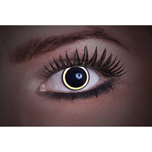 Eyecatcher-lenti a contatto colorate UV-Flash Eclipse-Bastoncini fluorescenti della luce: nero-12 mesi-2 Lenti (1 coppia)-ideale per carnevale Halloween e fiesta-senza correzione
