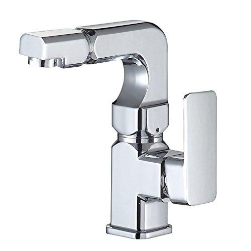 POOBZZ Waschbecken heißes und kaltes Wasserhahn Kupfer Ventil Kern Badezimmer Doppel rotierende Badezimmer Becken heiß und kalt Quartet doppelte Drehung