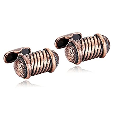 AMDXD Jewelry Stainless Steel Cufflinks for Men Strips Cylindrical Brown Cuff Links 2.4X1.3CM