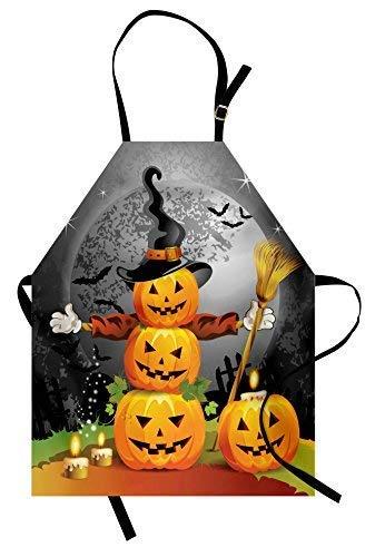 Soefipok Halloween-Schürze, niedliche Kürbisse lustige Zusammensetzung traditionelle Feier Hexen Hut Broomstick, Unisex-Küche Latzschürze Verstellbarer Hals Kochen Backen Gartenarbeit, Multicolor