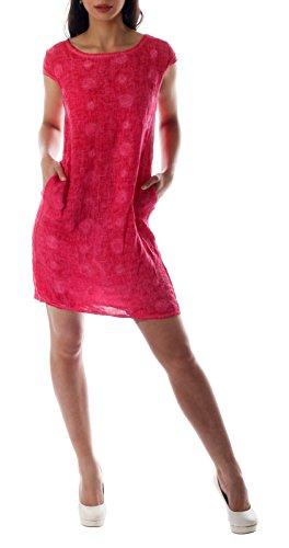 CHARIS MODA Leinen Kleid grafisches Muster 1/4 Arm mit Taschen (XL/40, Pink) - Mit 0,25