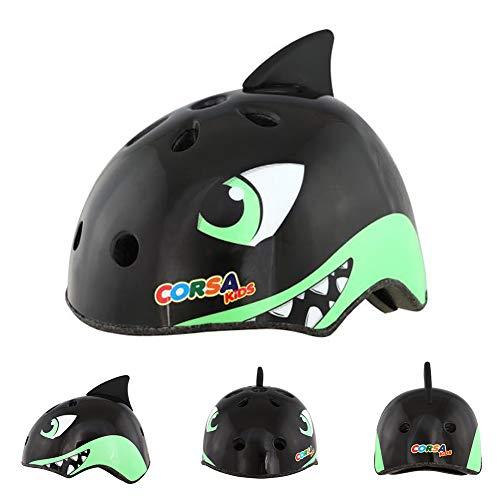 Mingzheng Kinder Multi-Sport Fahrradhelm für 3-12 Jahre alt Jungen und Mädchen Einstellbar Schutzhelm für Roller Skating Skateboard BMX Roller Radfahren (Schwarz Hai, S)
