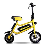 MOIMK 12 Zoll 36V Faltendes Elektrisches Fahrrad Geschwindigkeit 25Km / H / 16,7Kg Leichte Bauweise/Highlight LED Scheinwerfer Last 75Kg,Yellow,Endurance50km