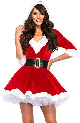 Kleid Weihnachtsmann Kostüm Weihnachten Cosplay Damen Outfit Rot (Kleid+Gürtel) ()