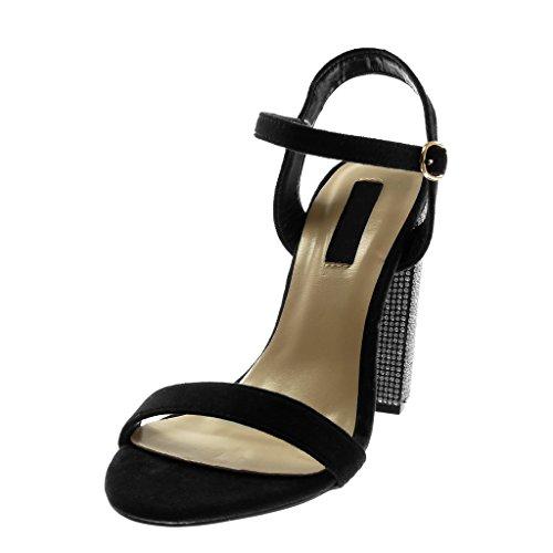 Angkorly Chaussure Mode Sandale Escarpin Lanière Cheville Femme Strass Diamant Lanière Talon Haut Bloc 12 CM Noir