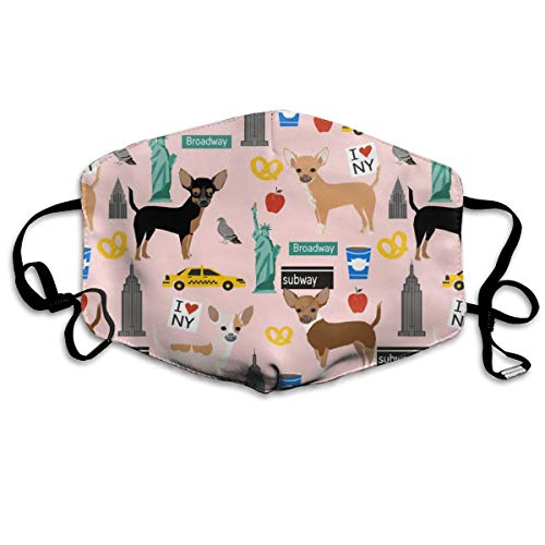 Chihuahua Dog New York City Tourist Cute Pet Portraits Pink Anti-dust Cotton Mouth Face Masks Reusable for Outdoor Half Face Masks