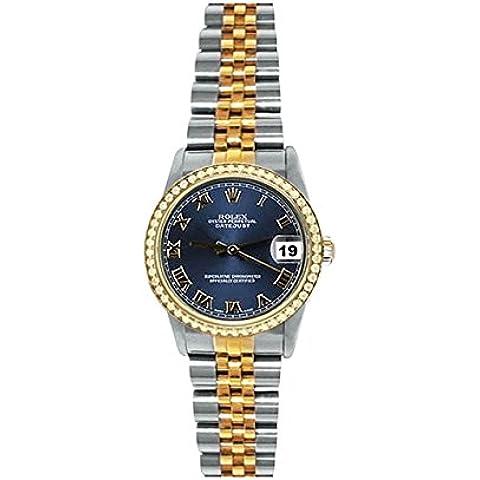Midsize rolex SS & braccialetto giubileo orologio d'oro blu romano Diamond Dial lunetta dat