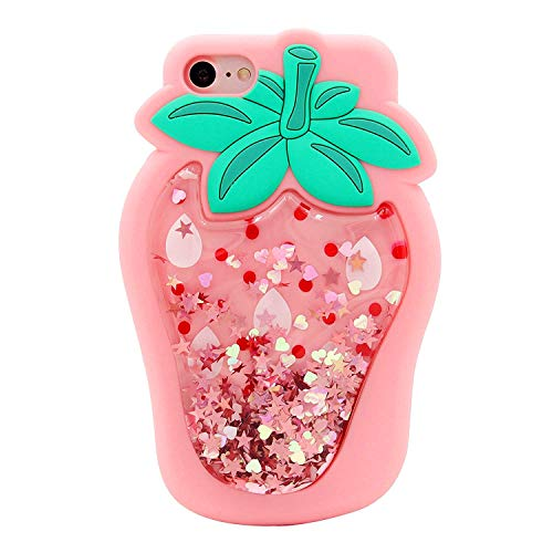 Artbling Schutzhülle für iPhone 7/8 11,9 cm (4,7 Zoll), Silikon, 3D-Cartoon-Motiv mit Frucht-Motiv, süße Hüllen, glitzernd, Kawaii-Motiv, für iPhone 7/8, Erdbeere