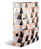 HERMA 7034 Motiv-Ordner DIN A4 Abstract Roségold, 7 cm breit aus stabilem Karton mit Folienveredelung, Ringordner, Aktenordner, Briefordner, 1 Ordner