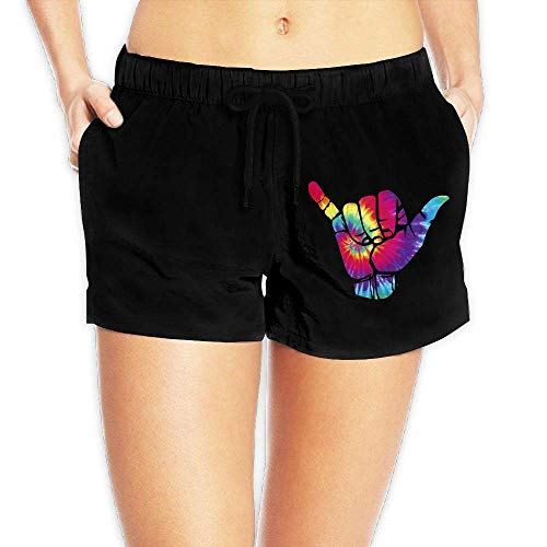 Hang Loose Peace Tie Dye Womens Printing Boardshorts Casual Classic Swimming Shorts with Pockets(L) -