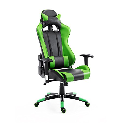 HOMCOM Silla de Oficina Juvenil Silla para Juegos de PC Ergonómica Reclinable con Respaldo Alto Acolchada Cuero PU (Verde)