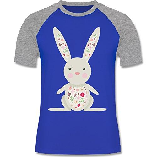 Ostern - Süßer Hase - Frühlingstiere mit Blumen - zweifarbiges Baseballshirt für Männer Royalblau/Grau meliert