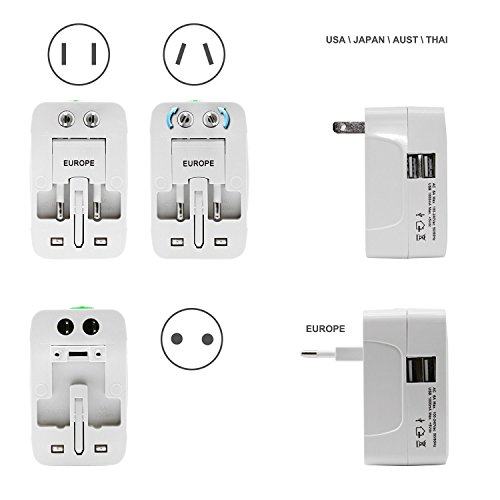 SeCro™ Universal Adaptor Worldwide Travel Adapter with Built In Dual USB Charger Ports All-in-one Chargers 100-240V Surge/Spike Protected Electrical Plug - (Lifetime Warranty)