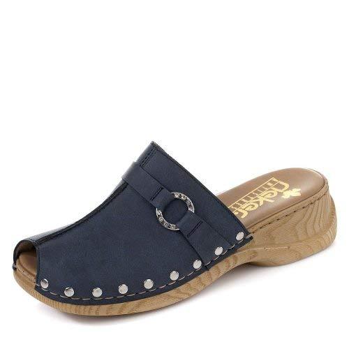 Rieker 65062 Damen Clogs&Pantoletten,Gummi-Pantolette,Sommerclogs,modisch,Fashion,denim/15 (Blau),39 EU / 6 UK