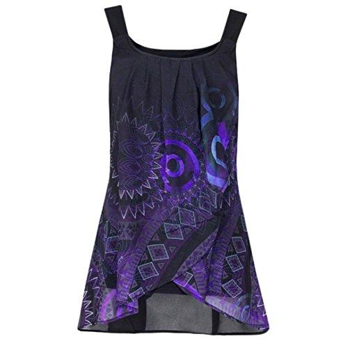 OSYARD Damen Drucken Shirt Ärmelloses O-Neck Weste Tank Tops Bluse Camisole(EU 46/XL, Lila)