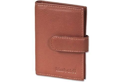 Rimbaldi® XXL-Kreditkartenetui mit 21 Kartenfächern aus weichem, naturbelassenem Rindsleder in Dunkelbraun/Taupe, Braun