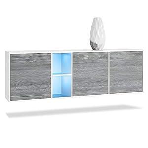 Vladon Sideboard Kommode Cuba, Korpus in Weiß matt/Fronten in Beton Oxid Optik, inkl. LED Beleuchtung