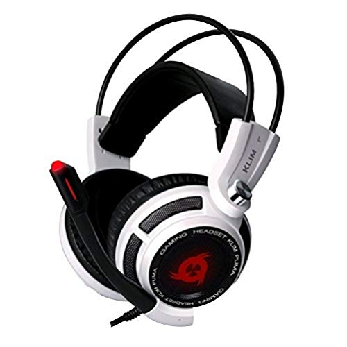 KLIM Puma Cuffie Gaming - Micro Headset da Gaming - Suono Surround 7.1 - Altissima Qualità Audio - Vibrazioni Integrate - Cuffie da Gaming con Microfono - Perfette per PC PS4 Games - Blanco Nuova 2019