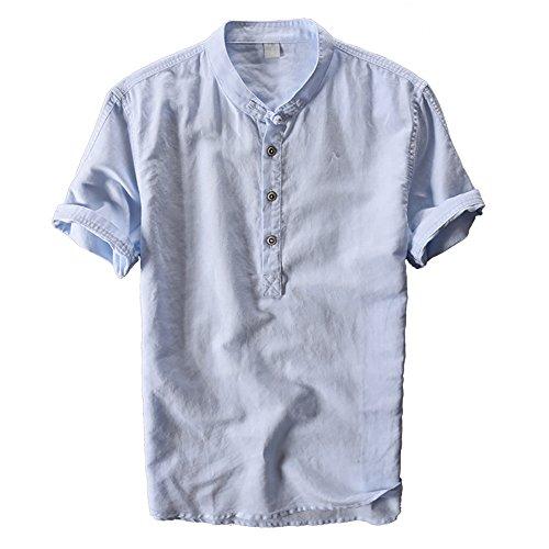 crazyplayer Herren Sommer Leinenhemd leinen Shirt mit Kurze Arm in leichter Sommerqualität weiß dunkelblau grau