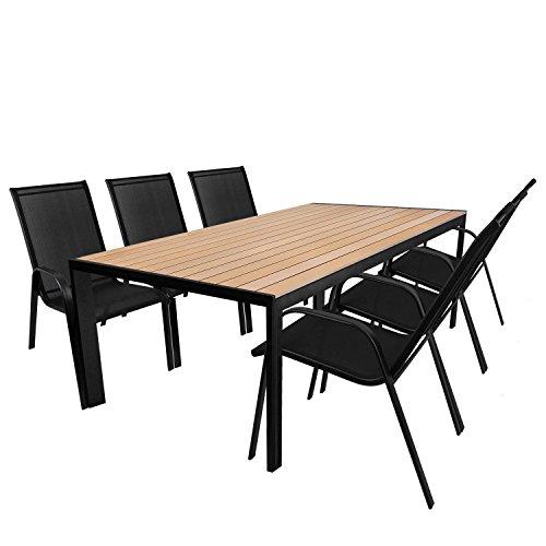 Multistore 2002 7tlg. Gartengarnitur Aluminium Gartentisch mit Polywood Tischlatte in braun - 205x90cm + 6X Stapelstuhl mit Textilenbespannung Schwarz/Sitzgruppe Sitzgarnitur Terrassenmöbel