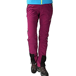 Outdoorhose Damen Wanderhose Wasserdicht Softshellhose Gefüttert Hose Winter Trekkinghose Funktionshose, Stil 1:Violett, Gr. EU-XS/Asia-M
