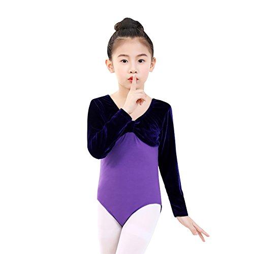 Einteilige Mädchen Ballett Trikots Dancewear Kinder Kinder Langarm Fliege Athletische Gymnastik Kostüme Bodys