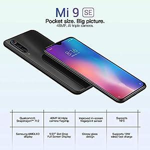 """eiAmz Xiaomi Mi 9 SE Smartphone,6G/128GB, Color holográfico, Pantalla AMOLED de Puntos de 5.97"""", cámara Triple Macro Gran Angular de 48 MP 117 ° (48 + 13 + 8), procesador Snapdragon 712 (Negro)"""
