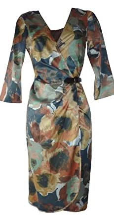 Pepperberry - Womens - Russet Floral Satin Wrap Dress - Gold - 18Sc