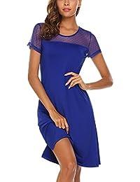 133c1feac23 ADOMER Femme Robe de Chambre Pyjama Robe de Nuit Manche Courte Chemise de  Nuit Été