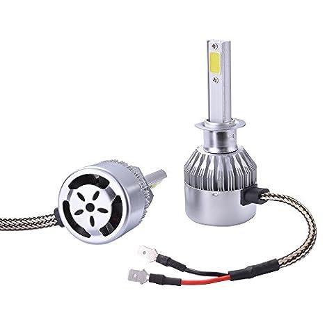 XCSOURCE 2pcs Ampoule Lampe Xénon HID Halogène H1 Phare Voiture LED 10000Lm 55W Ventilateur de Refroidissement 6000K Blanc LD972