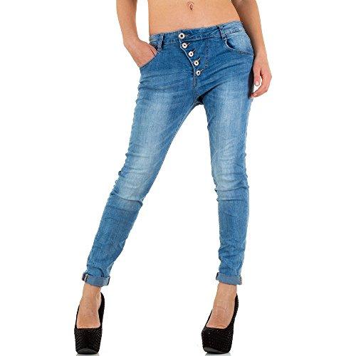 Damen Jeans Hose Jeanshose Used Look Low Boyfriend Hellblau Hellblau
