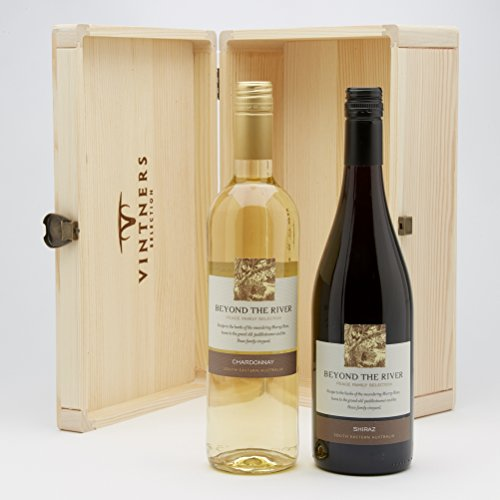 Hay Hampers Landings Wine Two Bottle White and Red Australian Wine Duo in a Wooden Box