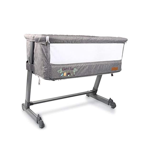 Cangaroo Baby cot Shared Love, one Side Opening, Multiple Adjustable, Colors:Grey Cangaroo suitable from birth up to approx. 11.3 kg or a body height of 86.4 cm ideal as additional bed, one side can be opened 5-fold height adjustable, bed feet 3-fold adjustable, two bed feet with castors 1