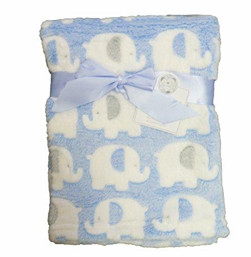 Qualité Luxe Ultra Doux de qualité supérieure avec couverture en éléphants Landau/berceau Bleu