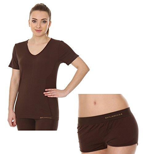 BRUBECK® SET Damen-Pyjama SS11790 + BX10920 (Kurzarm-Shirt + Boxer) | Schlafanzug | MicroModal Air | Klimaregulierender Komfort | Einzigartige Weichheit Brown